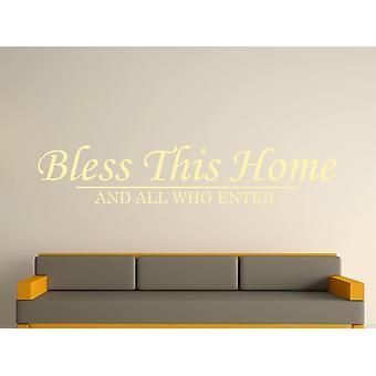 Bendiga esta casa pared arte adhesivo - Beige