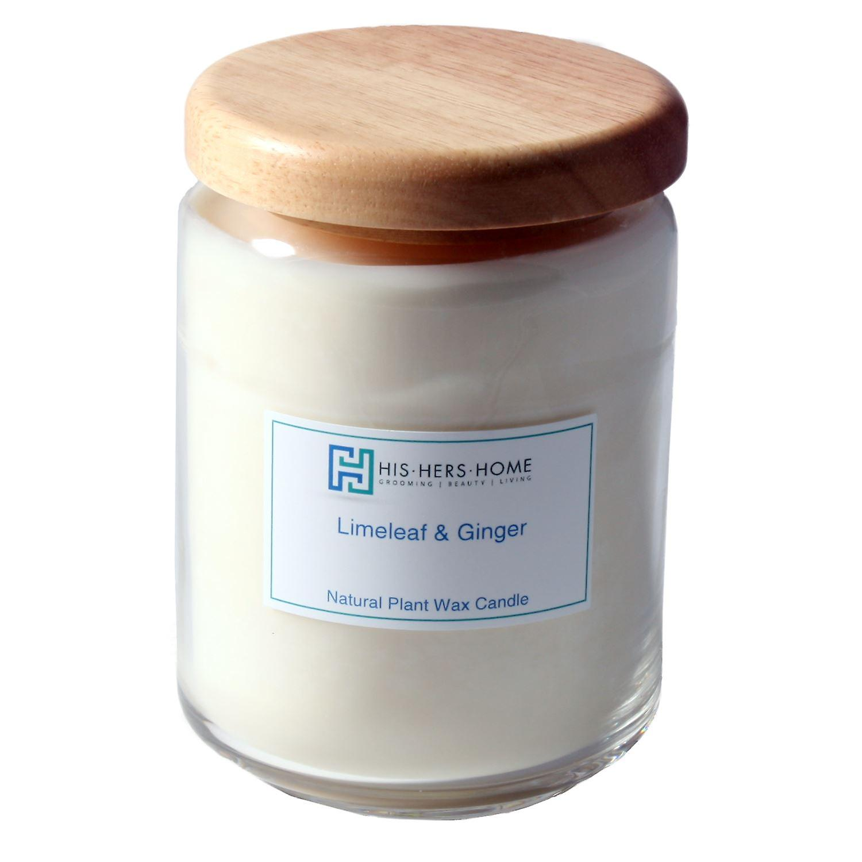 HisHersHome Natural Plant Wax Large Large Candle - Limeleaf & Ginger