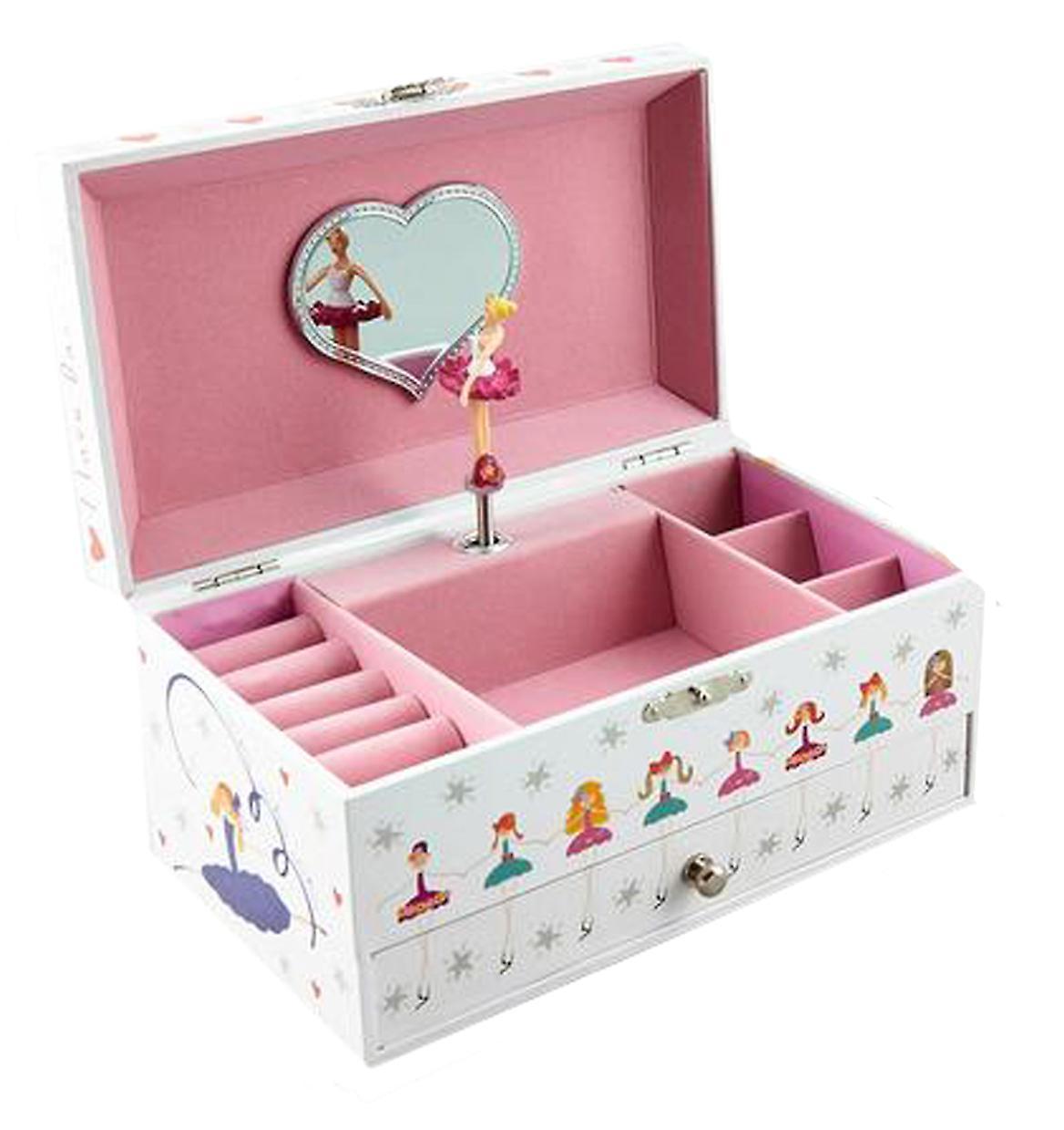 Girls rectangular ballerina musical jewellery box