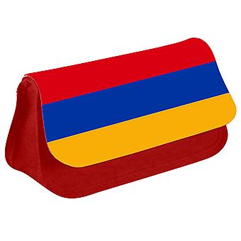 Armenia Flag Printed Design Pencil Case for Stationary/Cosmetic - 0008 (Red) by i-Tronixs