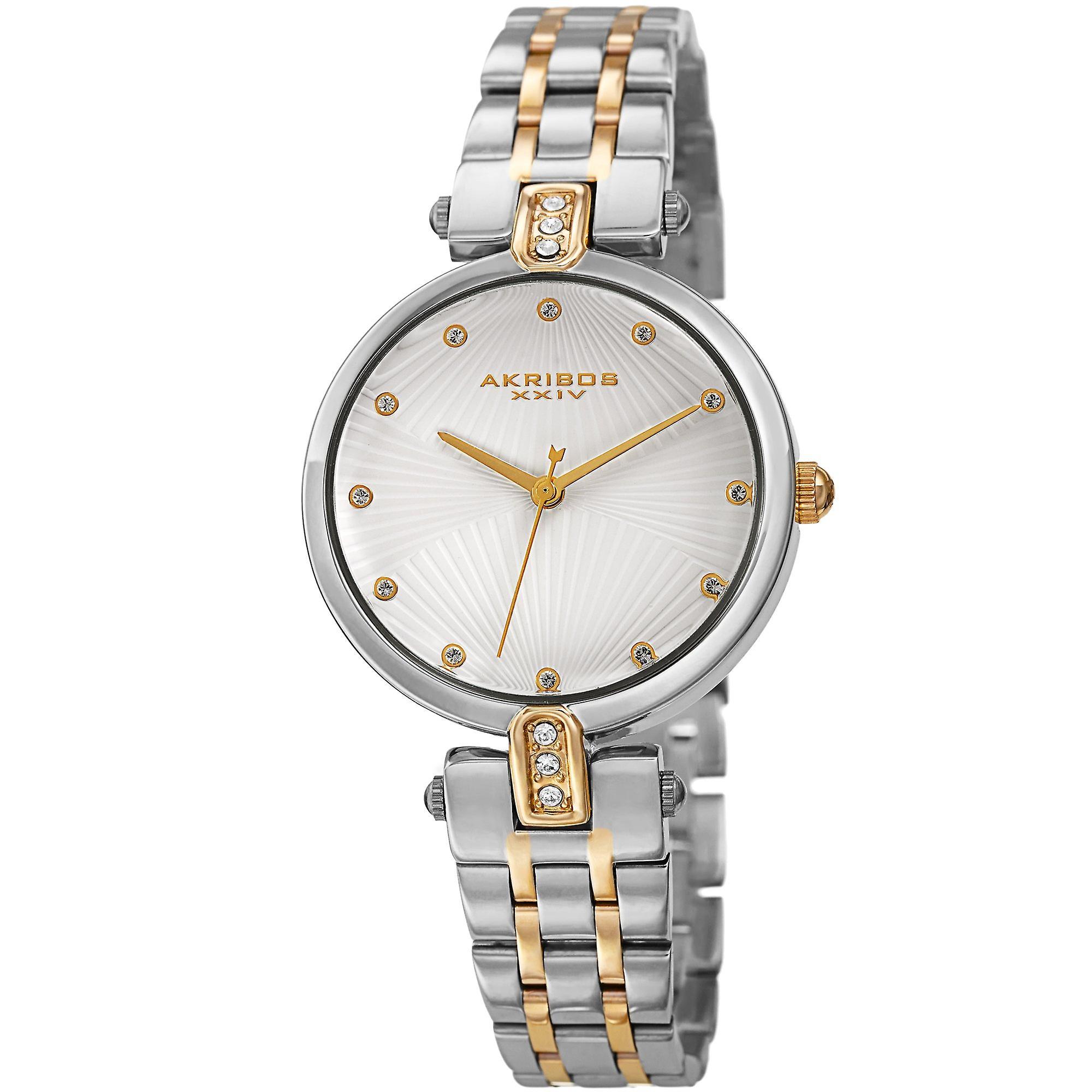 Akribos XXV AK1085TTG Women's Quartz Swarovski Accented Bracelet Watch