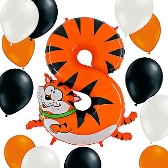 Animaloons Digit 8 The cat + 12 latex Balloons