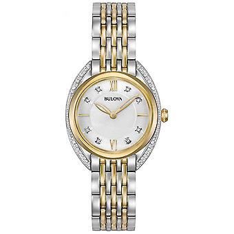 Bulova Womens Classic Diamond | Two Tone Stainless Steel Bracelet 98R229 Watch
