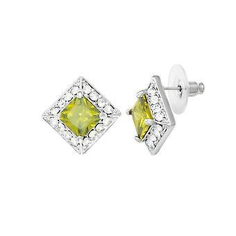 Eeuwige collectie pracht Peridot Crystal & Diamante zilveren Toon Stud doorstoken oorbellen