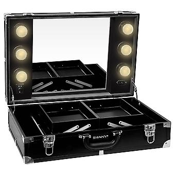 SHANY Studio-To-Go Tabletop Mirror Makeup Station – Caja de maquillaje con luces LED regulables incluidas y asa de transporte