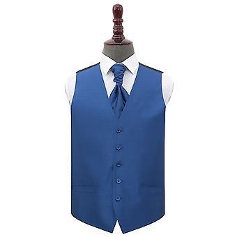 Navy Blue Plain Shantung Wedding Waistcoat & Cravat Set