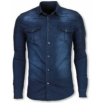 Biker Denim Shirt-Slim Fit Ribbel Schoulder-Blue