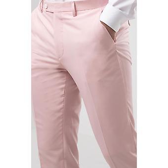 Dobell Mens Light Pink Suit Trousers Slim Fit
