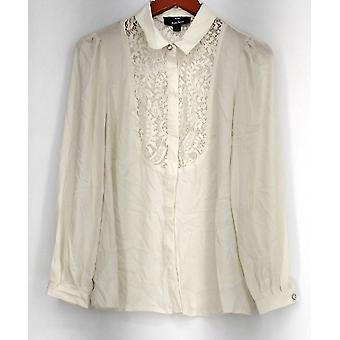 Dennis Basso Top manga comprida botão frente Lace detalhe blusa marfim A268817