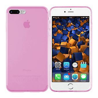 iPhone 8 Plus ja 7 Plus silikoni tapauksessa läpinäkyvä vaaleanpunainen - CoolSkin3T