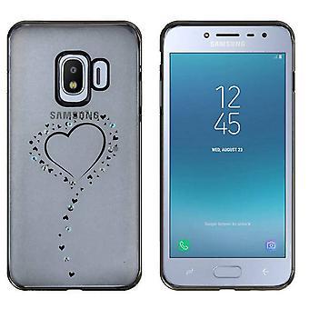 Samsung J2 Pro 2018 Case Hearts Black - Backcover Clear Bumper Look
