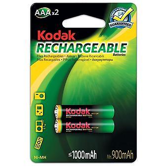2x Kodak oplaadbare AAA batterij NiMH 1000 mAh batterijen