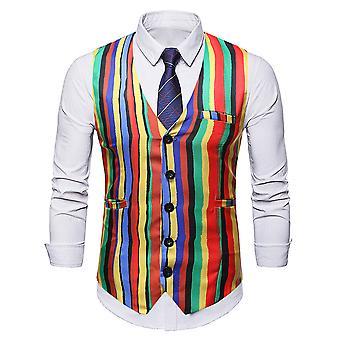 Alle Themen Men's Streifen Regenbogen bunte schlanke Anzug Anzug Weste