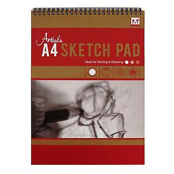 A4 Wirebound Artists Sketch Pad 50 Sheets 70gsm