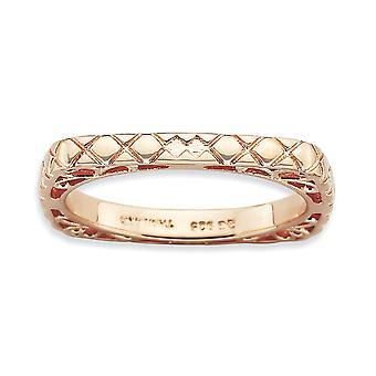 2.25mm 925 Sterling Silver Mönstrad stapelbar uttryck polerad rosa platta Square Ring Storlek 7 Smycken Gåvor för Wome
