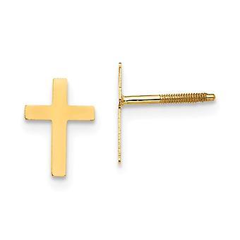 14k זהב צהוב מלוטש בורג בחזרה אמונה דתית לחצות עגילים תכשיטים מתנות לנשים