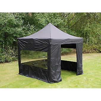 Tente Pliante FleXtents PRO 3x3m Noir, avec 4 cotés