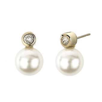 Traveller pierced earring - 10mm white peaarl - gold plated - 113040