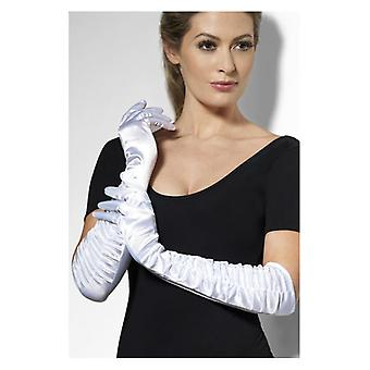 Temptress Gloves, White, Long Fancy Dress Accessory