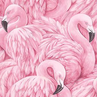 Roze Flamingo Wallpaper dierlijke Print moderne vogels veren Luxury Rasch