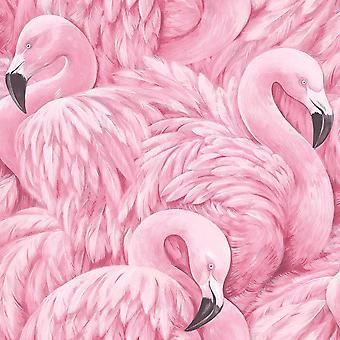 Fondo flamenco rosado animales aves modernas imprimir plumas lujo Rasch