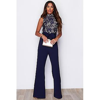 Navy Lace Top High Neck Jumpsuit