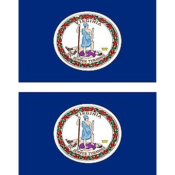 2 X Sticker Sticker Car Pc Vinyl Macbook Flag USA U.S. Virginia