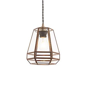Endon Stockheld 1 Light Pendant Antique Solid Brass, Glass 73287