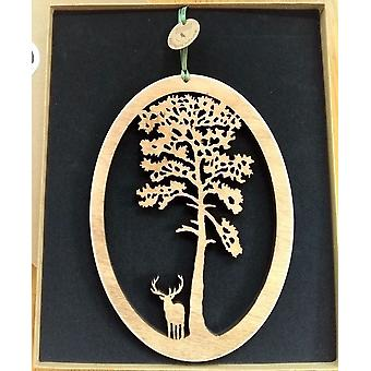 Hanging Wood Plaque - Scots Pine & Stag Oval Knightingale Crafts