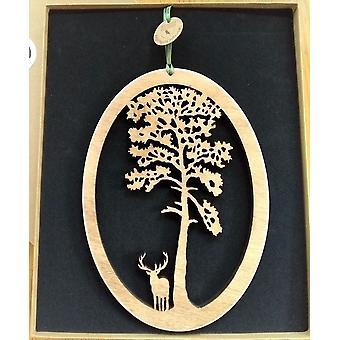 Plaque de bois suspendu - Scots Pine et Stag Oval Knightingale Crafts