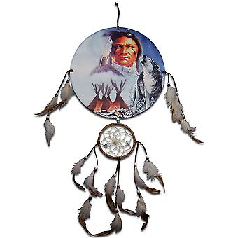 Indian Chief, Wolf und Teepees Dreamcatcher