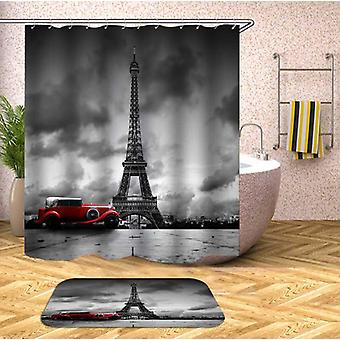 Classic Car At The Eiffel Tower Shower Curtain