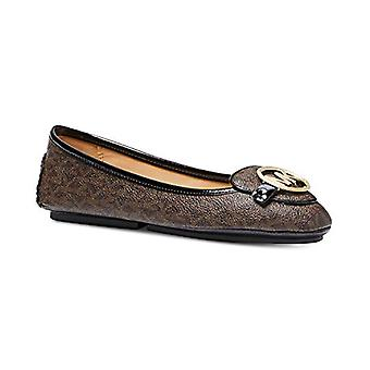 Michael Michael Kors Lillie Moccasin Flats Mini Logo Brown Shoes Size 9.5