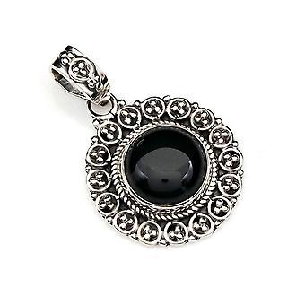 Onyx Pendant 925 Sterling hopea ketjun riipus medaljonki musta (104-03)
