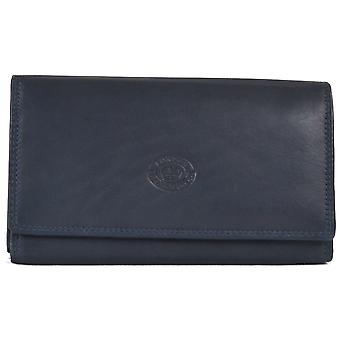 Ladies Soft Real Nappa Leather Long Flap-over Purse (Navy)