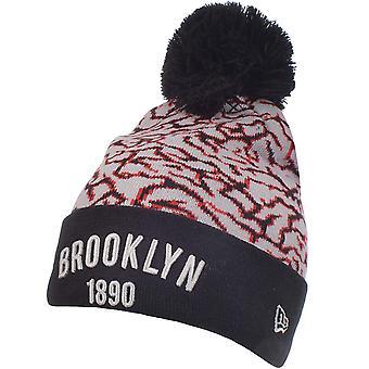 New Era Mens Brooklyn Dodgers MLB Elephant Pop Bobble Beanie Hat - Grey/Red OSFA