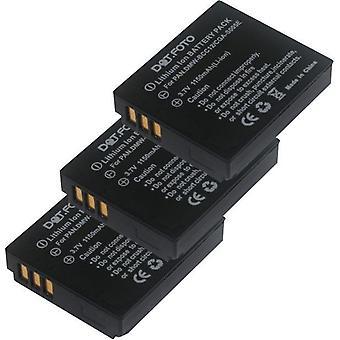 3 x Dot.Foto Panasonic CGA-S005, CGA-S005A/1B, CGA-S005E/1B, DMW-BCC12 erstatningsbatteriet - 3,7 v / 1150mAh
