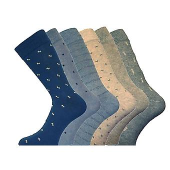 MENS Luxury Holiday Patterned Cotton Socks 6pk 6-11 Mix Colours