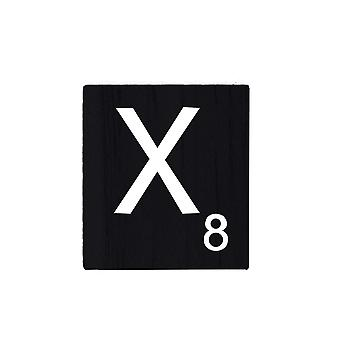 Black Wooden Scrabble Letters with Printed Numbers and Alphabets -X
