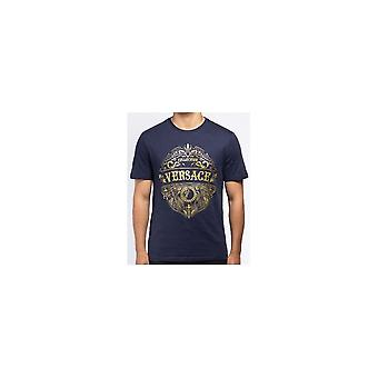 Versace Collection Cotton Printed Logo Navy T-shirt