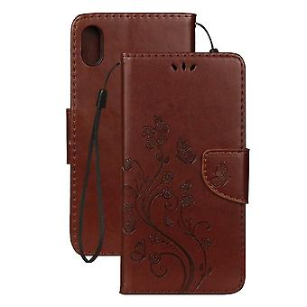 For iPhone XR Case Brown Embossed Butterfly Pattern Folio Leather Case
