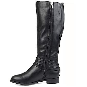Brinley Co. Comfort Womens Strap Riding Boot Black, 9 Wide Calf US