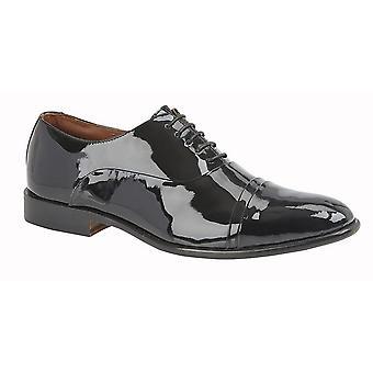 Kensington Classics Mens Capped Oxford Tie Patent Leather Shoes