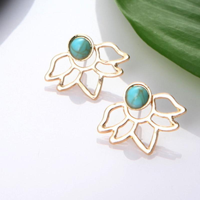 Sea Blue and Gold Stud with Flower Ear Jacket Earrings