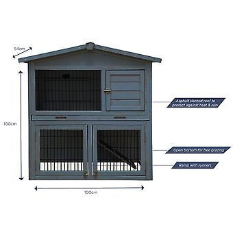 Charles Bentley Two Storey Rabbit Hutch with Play Area Rubber Coated Mesh Stainless Steel Locks in Grey / White / Light Brown