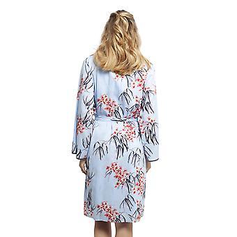 Cyberjammies 4393 Women's Olivia Blue Floral Print Cotton Robe