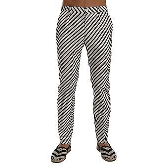 Dolce & Gabbana White Black Striped Cotton Slim Fit Pants