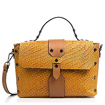 FIRENZE ARTEGIANI Real Leather Women's Bag. Woman's bag engraved braided lacquered. Hand bag. Women's shoulder bag Made in ITALY. REAL ITALIAN PELLE 35x32x5 cm. Color: CAMEL/MARRONE