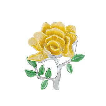 Eternal Collection Yellow Rose Enamel Silver Tone Flower Brooch