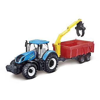 Bburago New Holland T7.315 Tractor + Combination Trailer Collectable Diecast Model
